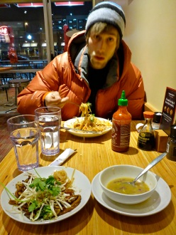 Almost everything was closed because of the snow. We managed to sneak into a noodle shop ten minutes before they closed. Bowls of thai curry soup were ONLY $1!!!!